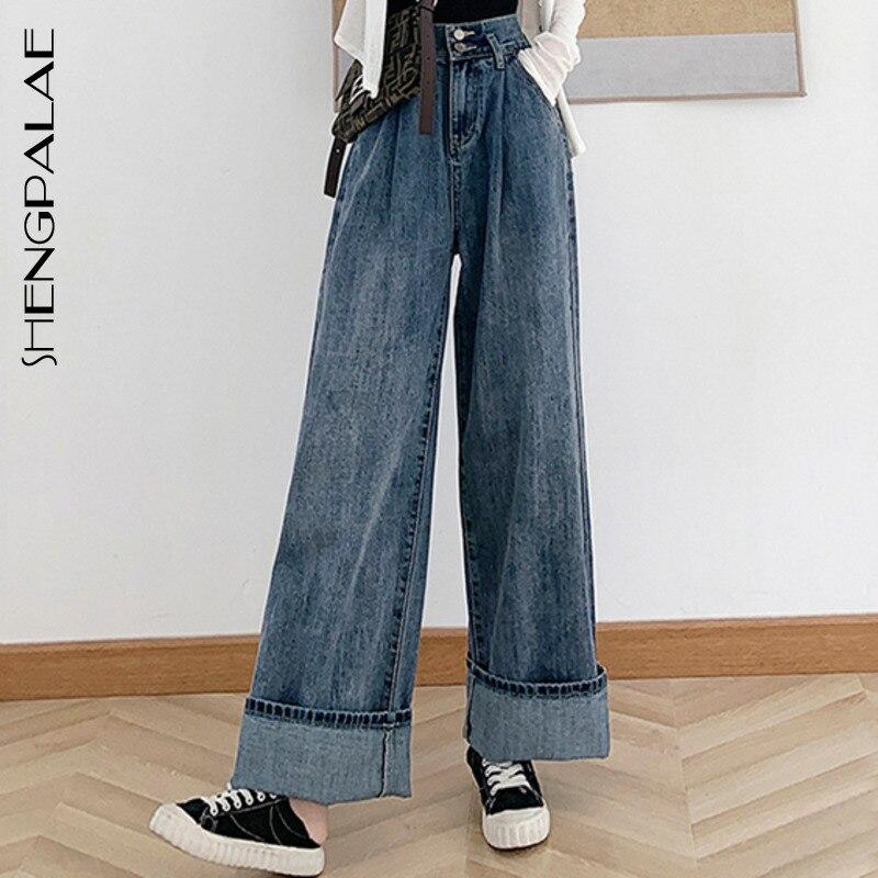 SHENGPALAE 2020 New Fashion Spring Vintage Casual Mom Jeans Long Trousers Cowboy Female High Waist Loose Streetwear ZA2749