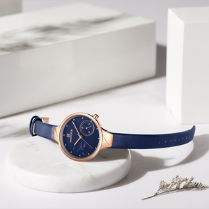 Image 3 - NAVIFORCE Women Fashion Blue Quartz Watch Lady Leather Watchband High Quality Casual Waterproof Wristwatch Gift for Wife 2019