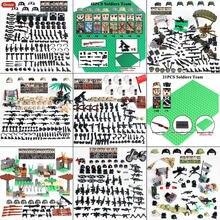 Bloques de construcción del ejército militar de la 2. ª Guerra Mundial para niños, minifiguras de soldados del ejército de ee.uu. con armas, bloques MOC, juguete para niños