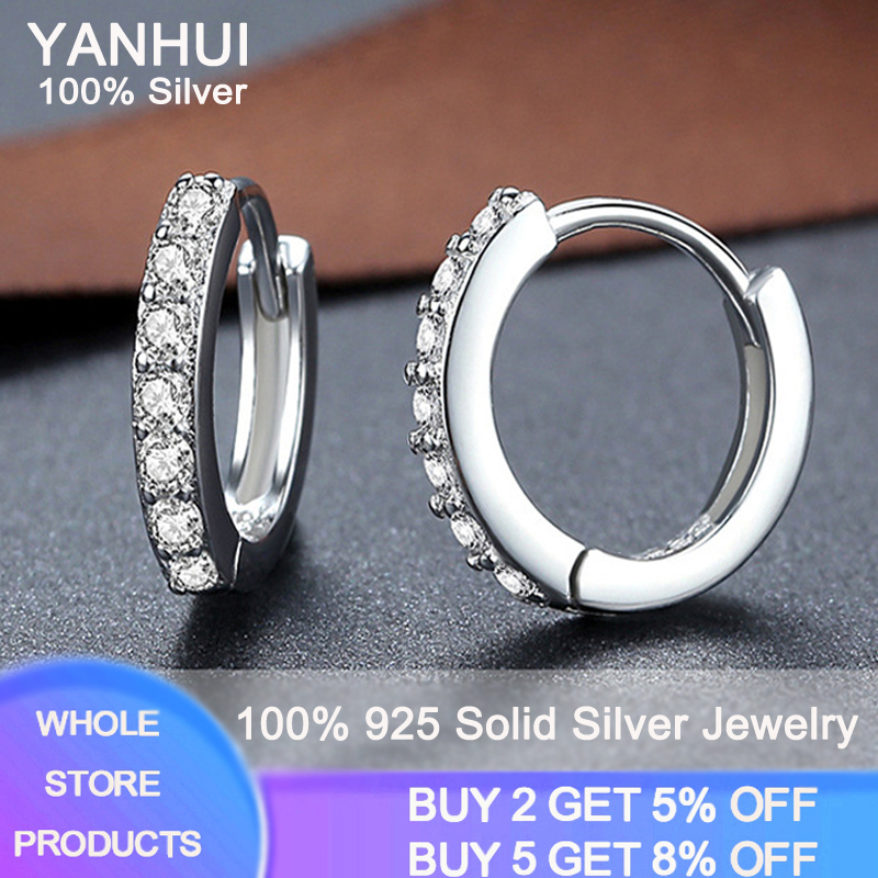 YANHUI Hot Sale 925 Sterling Silver Small Circle Earrings For Women Flash CZ Zircon Drop Earrings Birthday Gift Jewelry