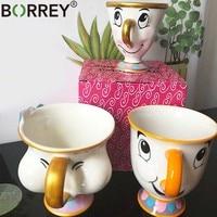 Borrey漫画セラミックコーヒーマグカップ美と獣茶カップかわいい白の磁器マグテーブルデコレーションクリエイティブギフト