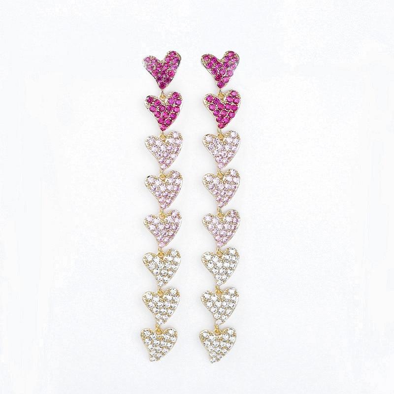 90mm Long Heart Chains Earrings Full Micro Paved Multicolor AAA Cubic Zircon For Women Bridal Wedding Earring Jewelry