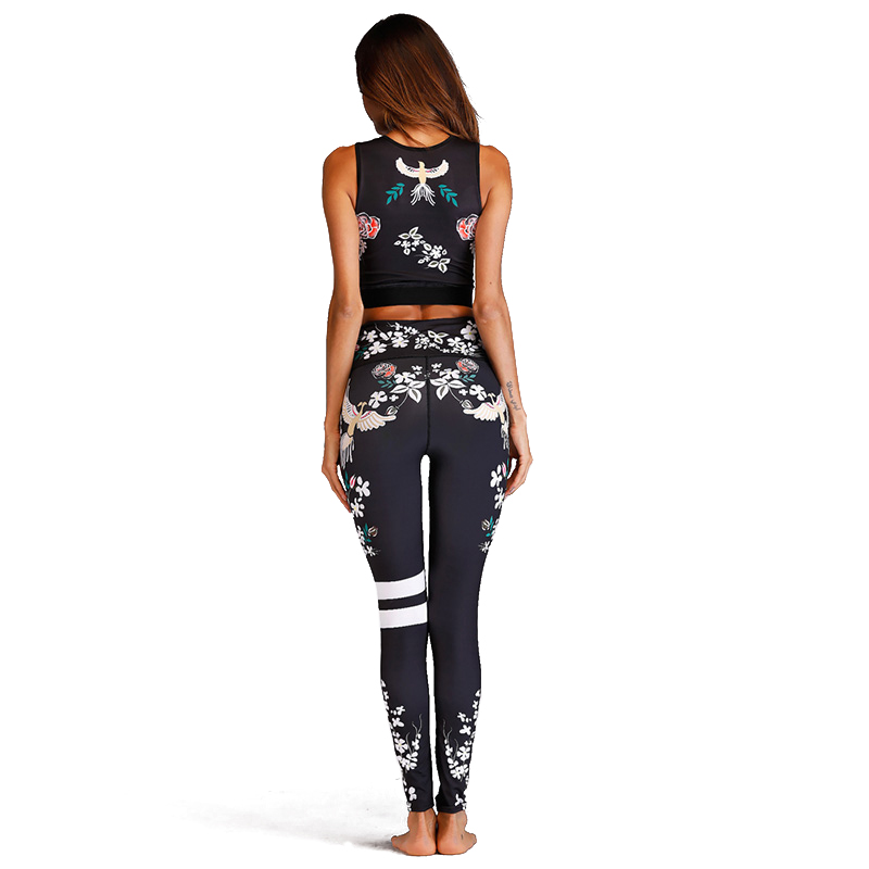 Acefancy Yoga Set Fitness Print Leggings Push Up Crop Rop  Bra Clothing Gym Woman ZC1792 Fitness Sets Sport Wear Outfit  Women 3