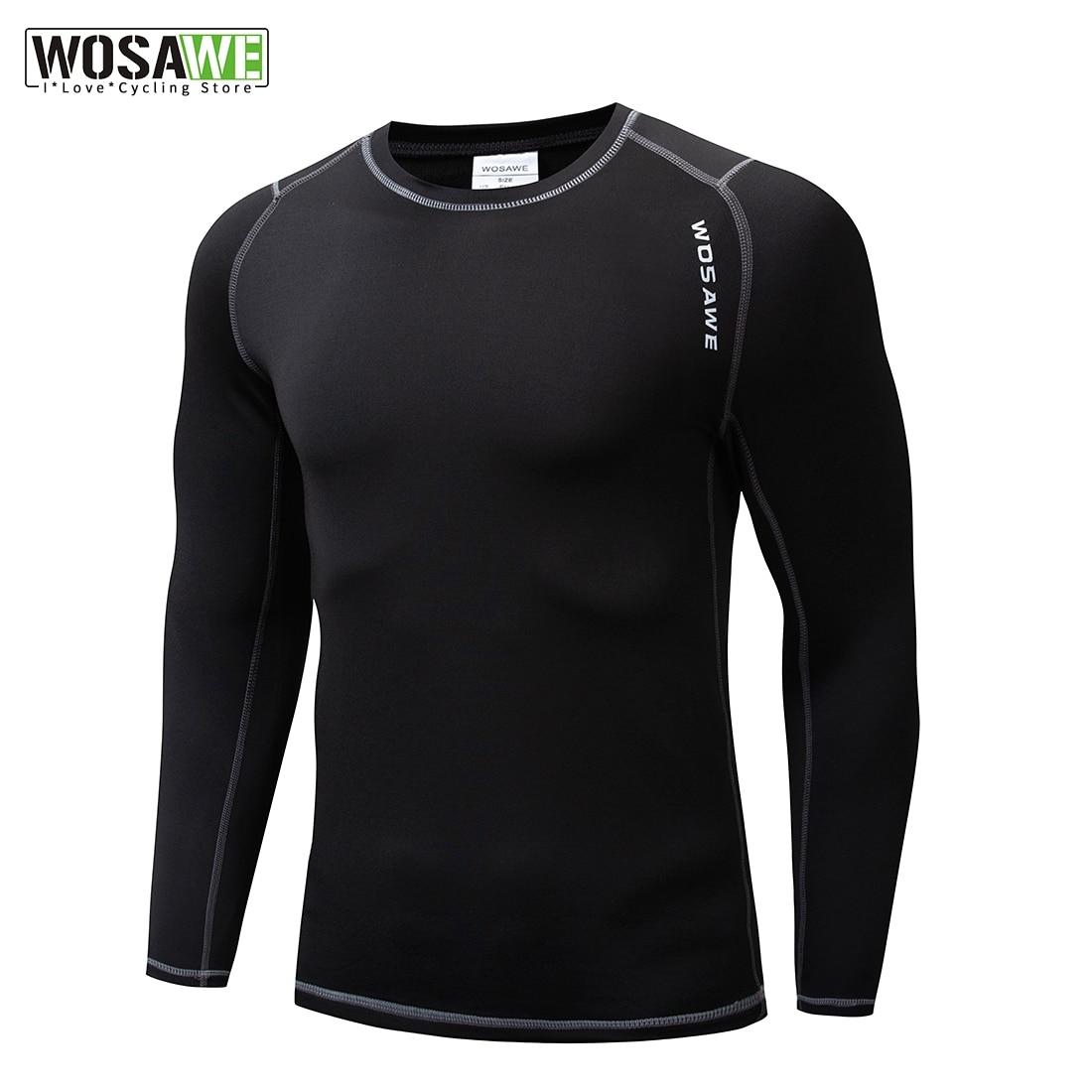 WOSAWE erkek kadın bisiklet baz katmanlar vücut geliştirme Fitness uzun kollu sıkı termal gömlek sürme spor iç çamaşırı Jersey