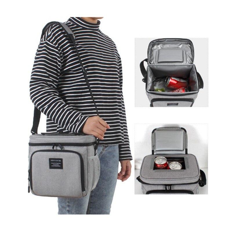 8L imperméable à l'eau frais garder boîte Oxford tissu EVA alimentaire isolation sac à déjeuner simple-épaule bière à emporter Pack fermeture éclair sac de pique-nique - 2