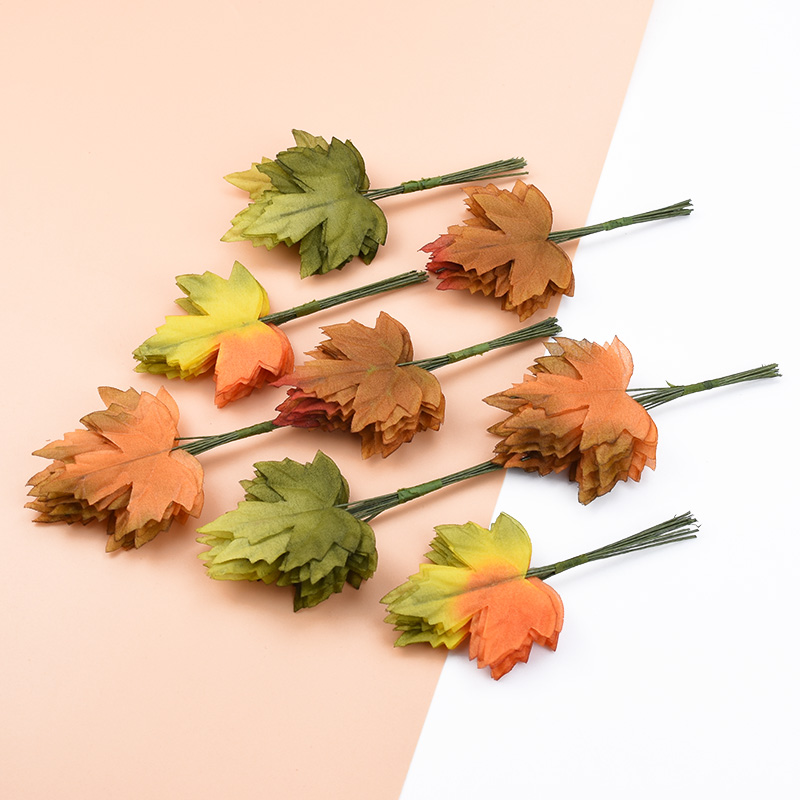 12pcs Christmas Decorations For Home Decorative Flowers Wreaths Flower Wal Lcandy Box Leaf For Scrapboo Artificial Plants Leaves