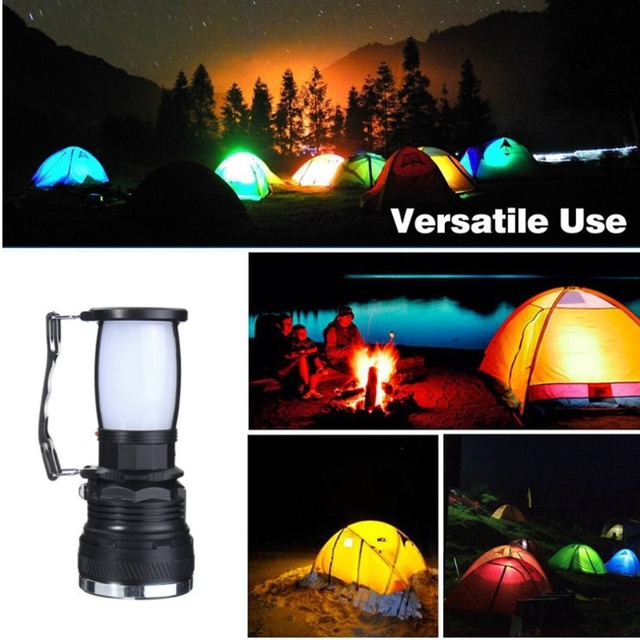 Solar Power USB Rechargeable LED Flashlight Super Bright Camping Tent Light Emergency Lantern Lamp For Hiking Travel 4