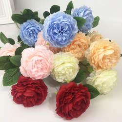 Европейский стиль модель 3 головы Ян пион Западная Роза свадебный цветок стены дорога свинец Декоративные искусственные цветы Хуан Хуа