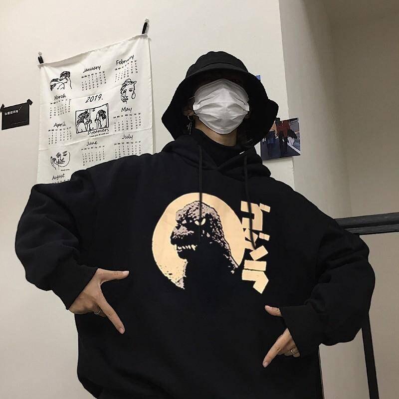 Fashion Japanese Funny Noodle Wave Printed Fleece Hoodies Men Harajuku Autumn Japan Hip Hop Casual Sweatshirts Streetwear Males