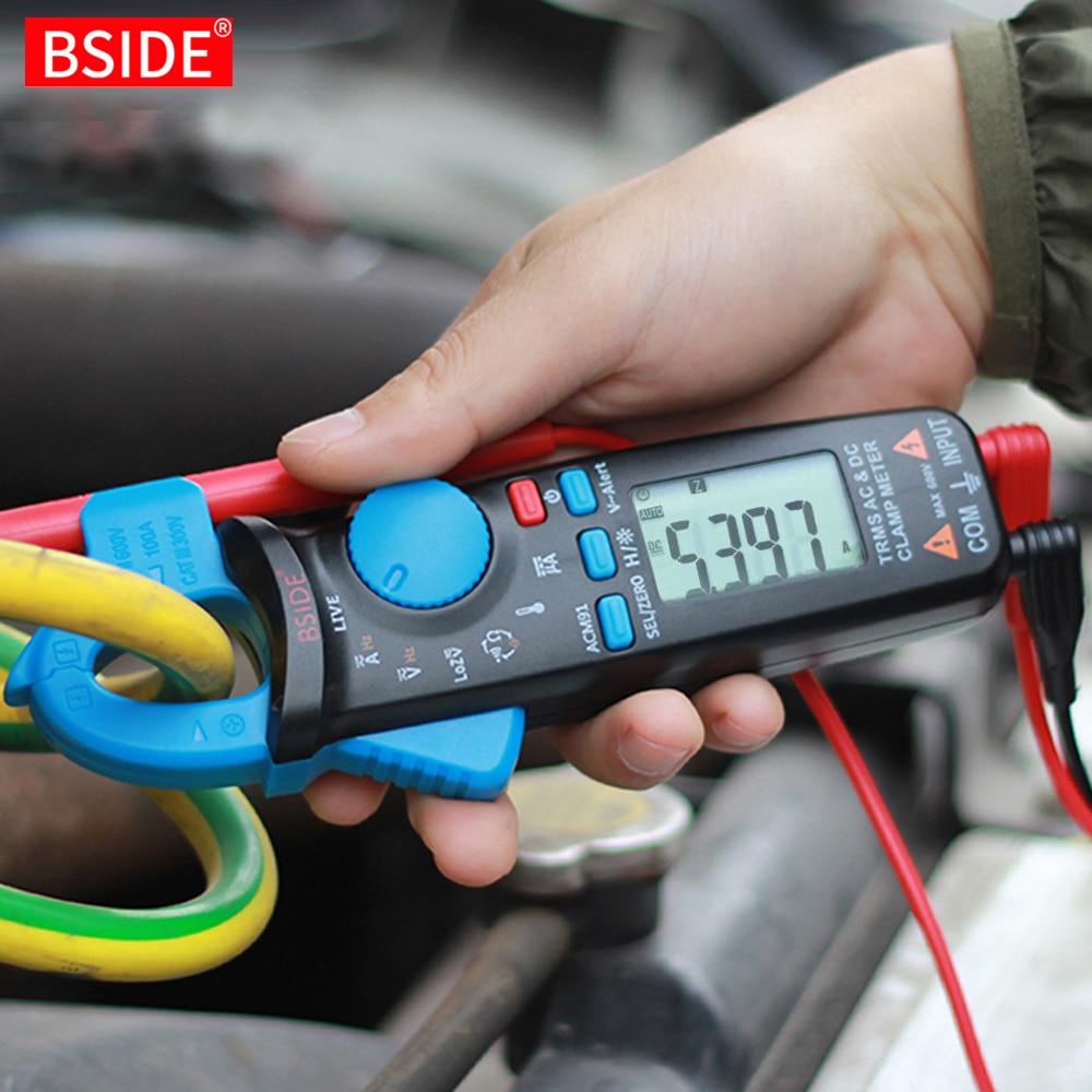BSIDE True RMS Clamp Meter 1mA Plier Ammeter Professional Car repair Digital Multimeter DC AC Current Volt Temp Capacitor Tester