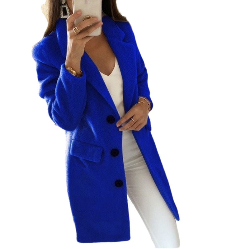 2019 New Fashion Wool Blend Coat High Quality Long Sleeve Turn-Down Collar Warm Autumn Winter Wool Women Jackets Plus Size 5XL