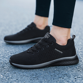 Mężczyźni trampki moda mężczyźni obuwie oddychające buty męskie buty do chodzenia męskie Tenis czarny Tenis Masculino Zapatillas Hombre tanie i dobre opinie HAJINK Mesh (air mesh) Rzym Plecionka Dla dorosłych Cotton Fabric Wiosna jesień Men Sneakers Lace-up Mieszkanie (≤1cm)