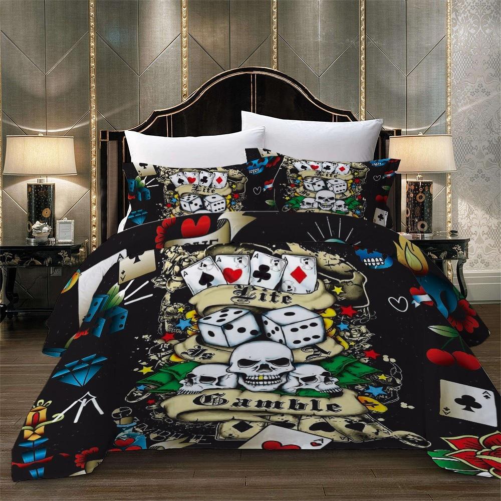 US $36.71 49% OFF|Poker Skull Dice Print Boys Bedroom Bedding Set Rose Bed  Linen Set 2/3pcs Home Microfiber Duvet Cover Set Queen King Bedding-in ...