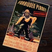 Prohibido planeta sci-fi espectacular paisaje extraño película cartel Vintage pintura de la lona de arte de la pared de Casa carteles para Bar Decoración