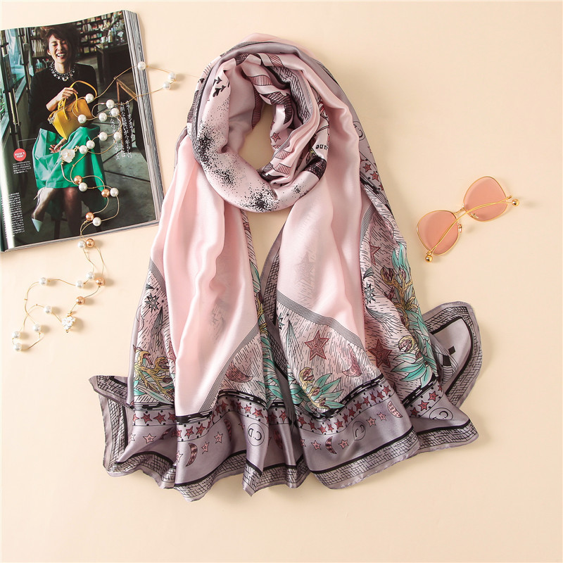 China new style Autumn and winter women flower print Scarves lady muffler Popular warm shawl Seaside Sunscreen wraps silk hijab