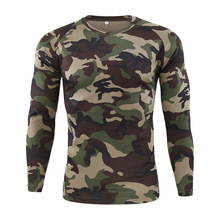 Gym Shirt Men's Spring Autumn Outdoor Camouflage Long Sleeve Tee Men Quick Dry Tight Base Layer Sport Hunting Running T-Shirts fitted quick dry gym long sleeve t shirt