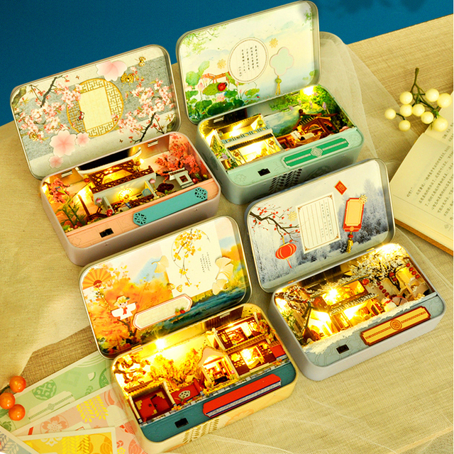Box Theatre Dollhouse Miniature Toy with Furniture DIY miniature Doll House LED Light Toys for Children Birthday Gift TH5