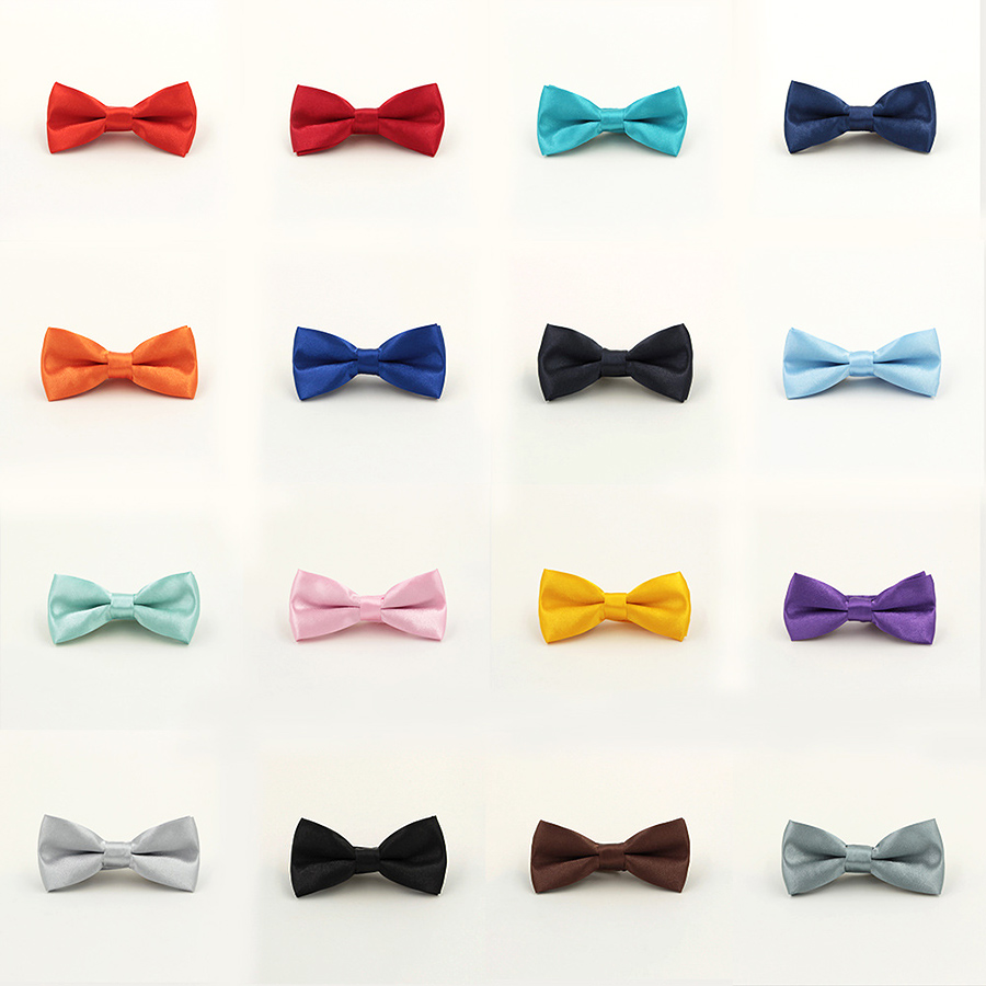 Child Solid Color Bow Tie Wedding Bowtie Noeud Papillon Boys Girls Polyester Silk Pajaritas Cravat Bowties Female Male Neckwear