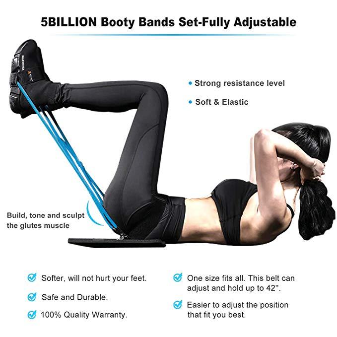 Fitness Women Booty Bands Set Resistance for Butt Legs Muscle Training Adjust Waist Belt Elastic Bands Pedal Exerciser Workout 4