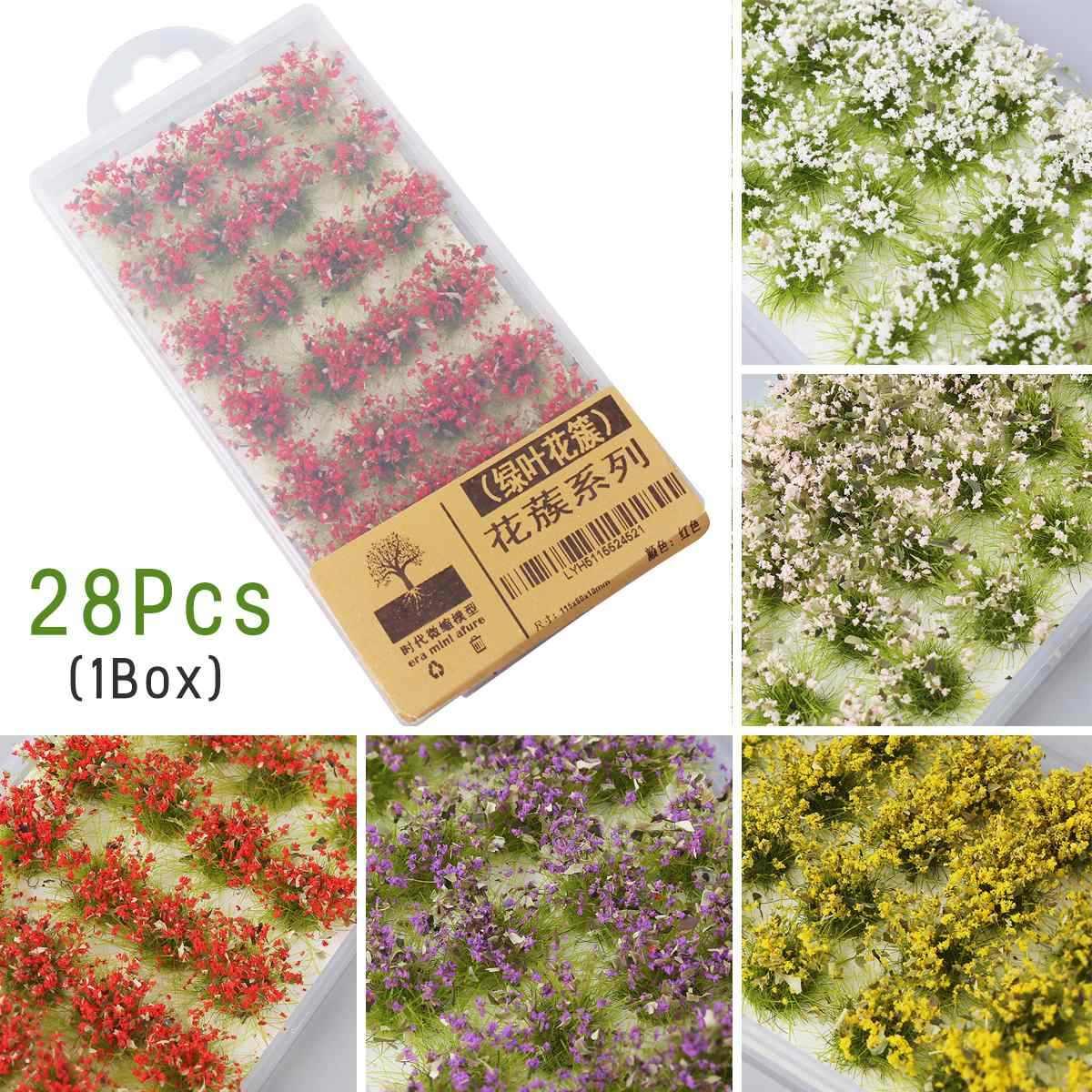 28 sztuk Model scena terenu produkcji sztuczny kwiat klastra dzikiej róży kwiat DIY miniaturowy krajobraz materiał