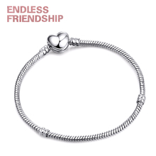 Dropshipping Heart Shape Clasp Retro Silver Plated Snake Chain Charm Bracelet Fit Brand Bracelets For Girl DIY Making Jewelry wholesale couples silver heart shape chain design bracelet h367