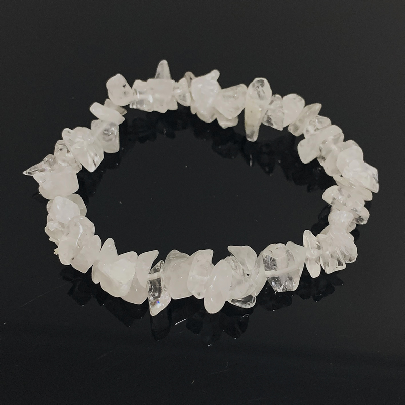 Women Bracelets Reiki Healing Nuggets Mineral Clear Quartz White Crystal Chip Stone Beads Meditation Jewelry Quartz Bracelets