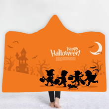 Dropship Custom DIY Hooded Blanket pumpkin print for Halloween Digital Print towel Cloak Thick Double Layer