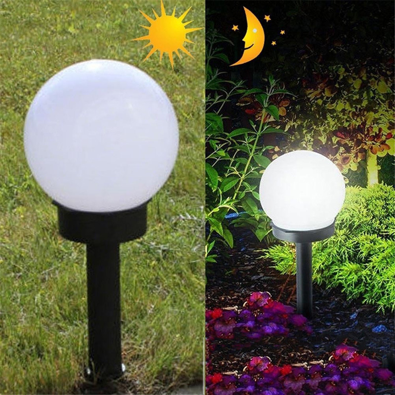 2pcs/lot Round LED Solar Power Outdoor Garden Path Yard Ball Light Lamp Lawn Road Patio Garden Courtyard Lawn Road Ground Light
