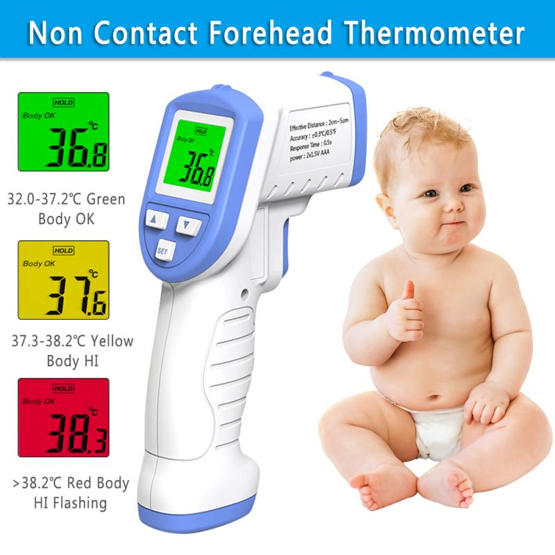 Non Contact Forehead Thermometer Detector Tri-color Display Infrared Thermometer One Second Measuring For Adult Kids
