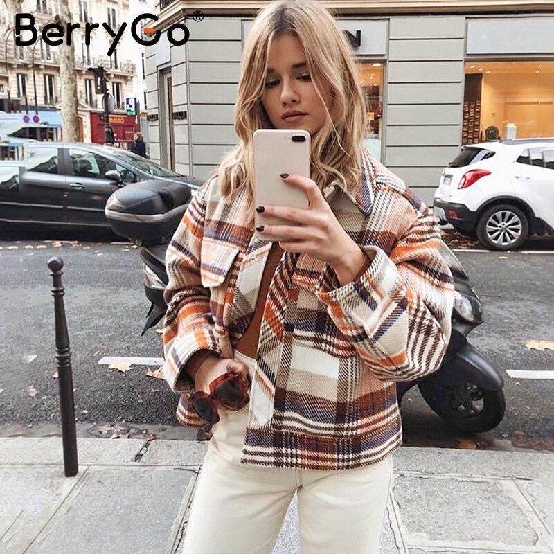 BerryGo однобортный женский пиджак в клетку, пальто с длинным рукавом, уличный сверхразмерный женский пиджак, повседневная Осенняя верхняя оде...