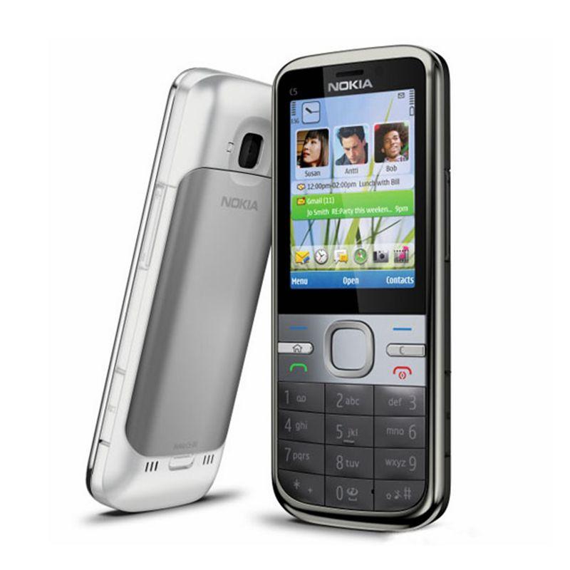 Nokia C5 Original Nokia C5-00 C5-00i 3.15&5MP Bluetooth Support Russian&Hebrew&Arabic Keyboard Refurbished Unlocked Mobile Phone