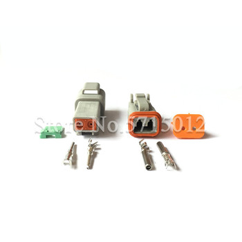 Deutsch DT 2 Pin 22-16AWG Waterproof Electrical Wire Connector Plug DT06-2S DT04-2P For Car image