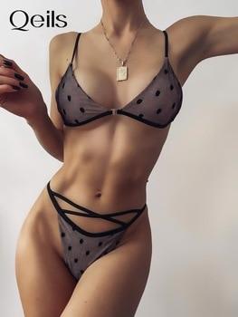 Qeils 2021 High quality 2-Pieces Bikini Set Rainforest Print Beachwear Female Swimsuit High Waist Bikini Women Swimwear 1