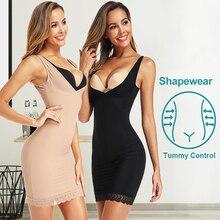 Женское платье-комбинация, Корректирующее белье для тела, корсет для талии, платья, Корректирующее белье с контролем живота, облегающее боди, моделирующее бесшовное белье на бретелях