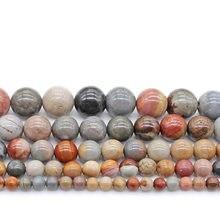 6mm 8mm 10 12mm oceano natural pedra redonda solta grânulos orbicular granito riverstone grânulos para fazer jóias diy pulseira brinco