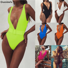 New 2019 sexy womens one-piece swimsuit leopard print belt buckle bikini swimming fitness nylon solid color