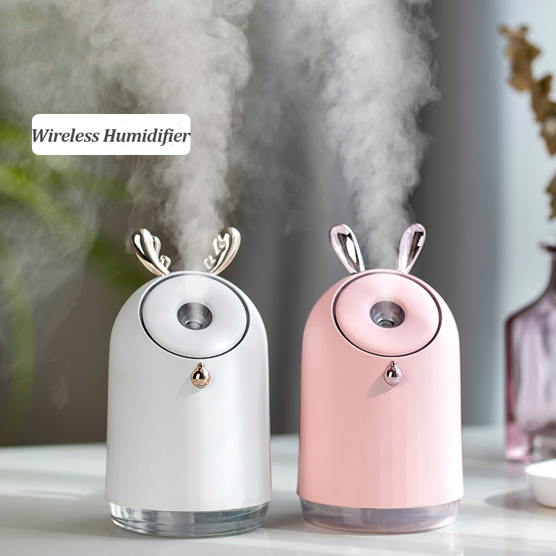 Wireless Air Humidifier With 800mAh Battery Ultrasonic Cool-Mist Adorable Humidificador Aromatherapy Essential Oil Diffuser