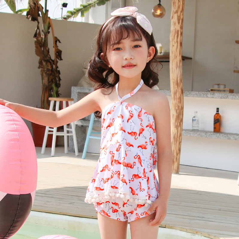 2019 New Style Hot Selling KID'S Swimwear INS-Style Furry Ball Halter Backless Flamingo Boxer Small CHILDREN'S GIRL'S Swimsuit