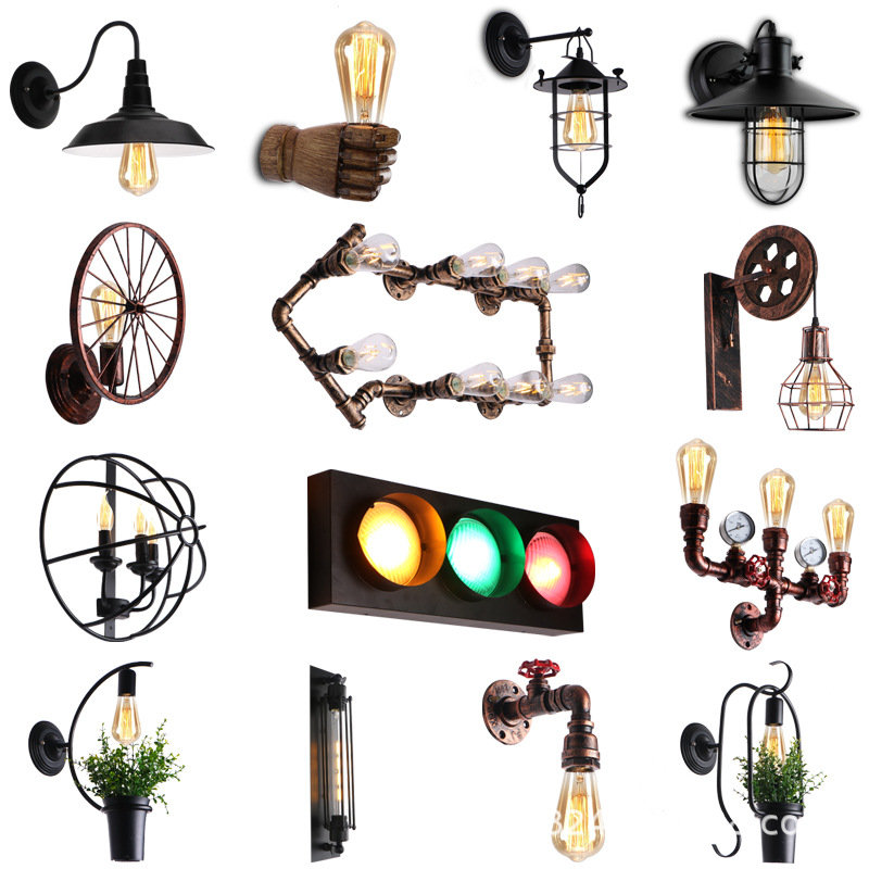 Nordic Industrial Wall Lamp Creative Plant Bar Coffee Hall Corridor Retro Water Pipe Iron Decorative Wall Lights For Home