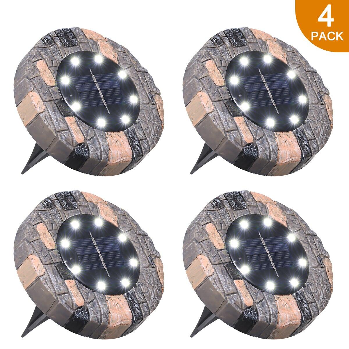 8 leds jardim deck de disco lâmpada