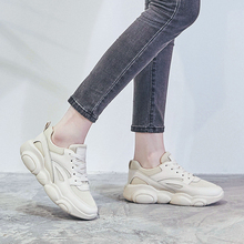 Basic Women Breathable Mesh Sneakers Female Lace-up Ugly Daddy Sneakers 21818AHW2402 lace up flatform mesh sneakers