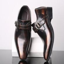 Vestido oxford Vintage británico puntiagudos zapatos de lujo nuevo hombre monje Correa mocasines boda zapatos de graduación Sapato Social Masculino