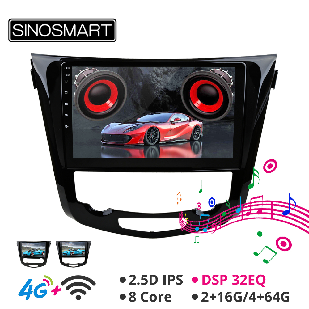 Sinosmart 8 núcleo cpu dsp navegação carro gps player para nissan x-trail/qashqai/duali 2013-2018 suporte 360 sistema de visão 4g rede