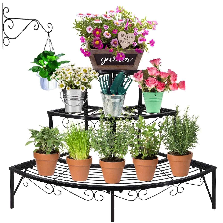 3 Tier Plant Shelves Garden Flower Pot Holders With Hanging
