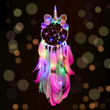 LED lights Unicorn Dream Catcher Colorful Feather Macrame Wall hanging Ornaments Glitter Kids Girl Party Decorations Wind Chimes