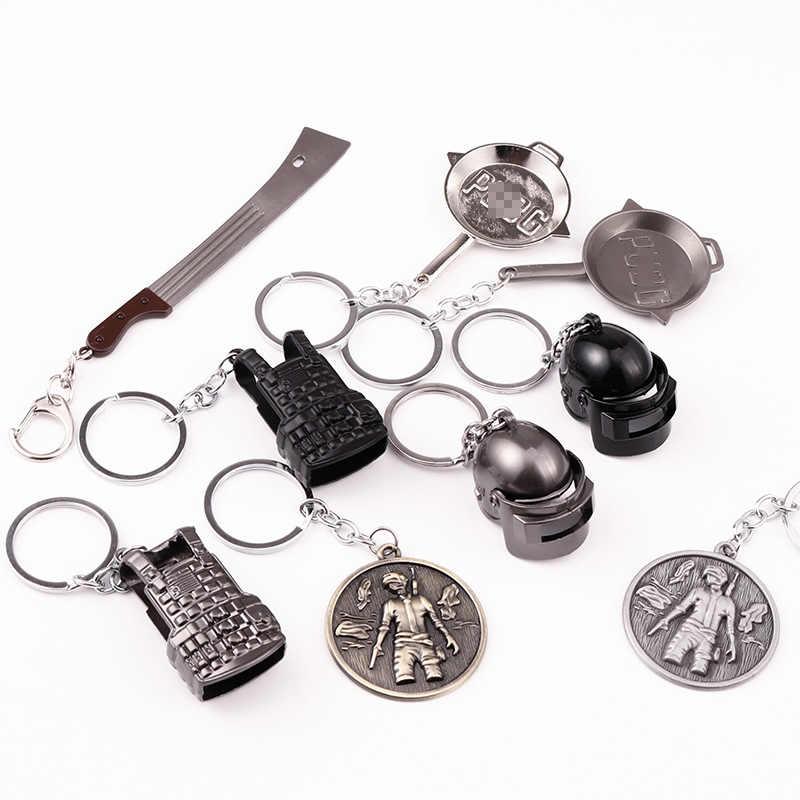 2019 Novo Brinquedo Battle Royale Pendente de Metal Pan Caso Med Colete Mochila Capacete Chaveiro Arma FPS Jogo Battlefield Homens keychain