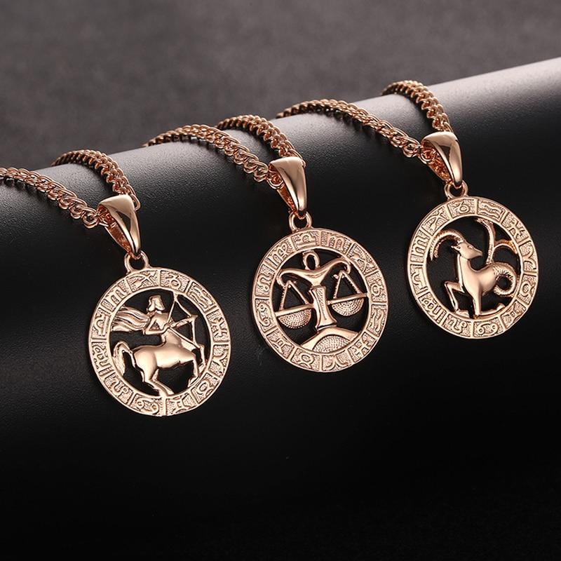 FJ 12 Zodiac Sign 585 Gold Color Constellation Rose White Pendants Capricorn/Gemini Twisted Necklace Chain Women Men Jewelry(China)