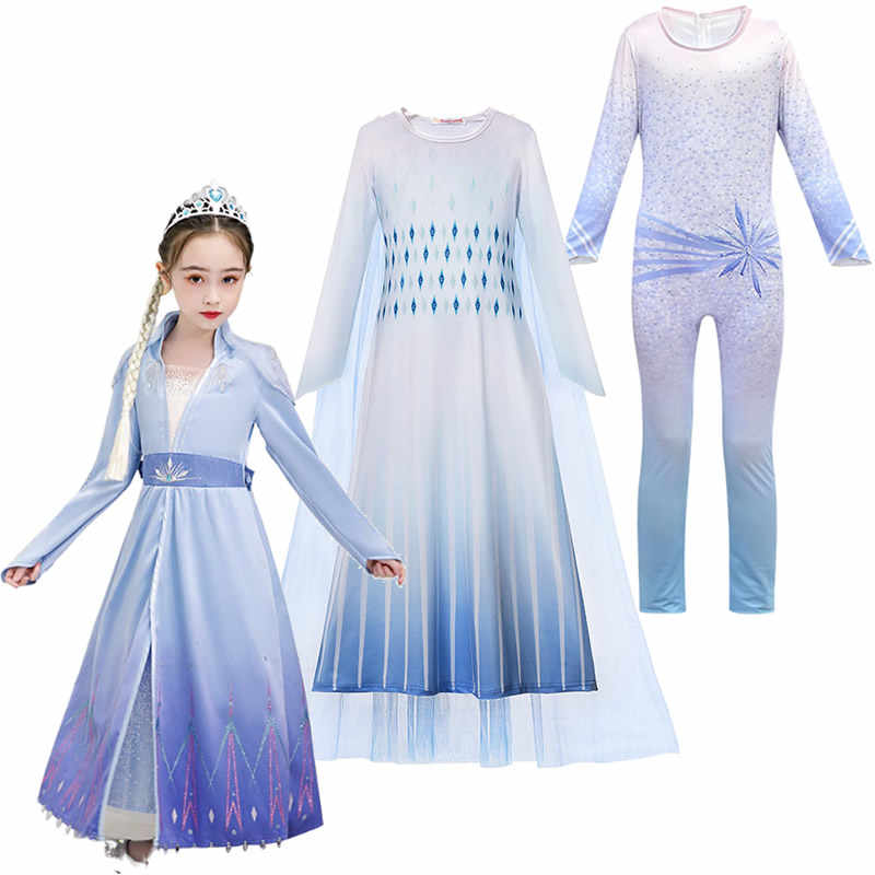 Elsa White Dress Snow Queen 2 Role Playing Costumes Fancy Toddler Winter New Princess Dress Elsa And Anna Game Cosplay Clothes