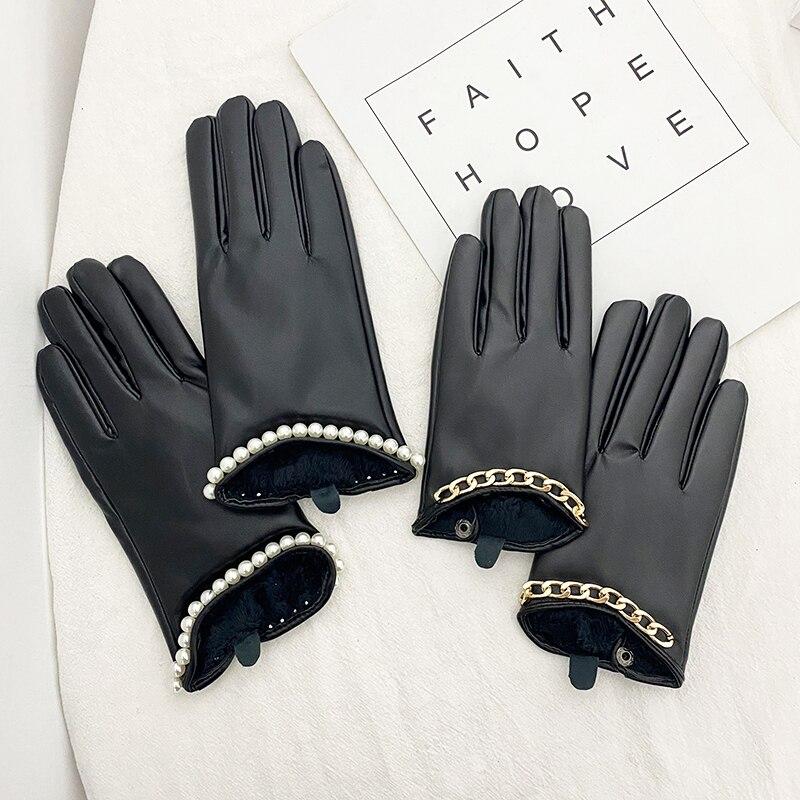 2Pcs Women's Genuine Leather Finger Gloves Metal Chain Skull Punk Motorcycle Biker Fingerless Glove Cool Touch Screen Gloves