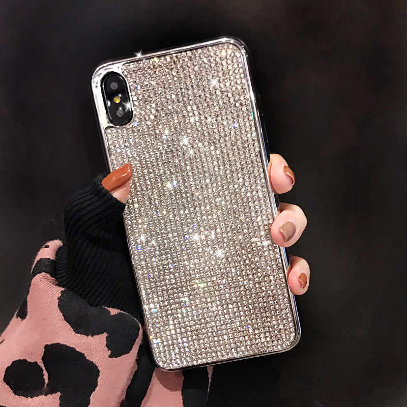 YOACHEY Diamond Glitter Case for iphone X XS MAX XR 7 8 6 6s Plus Soft TPU Silicone Back Cover Bling Rhinestone Girl Phone Cases